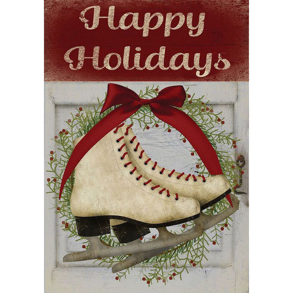 Happy Holidays Figure Skates Garden Flag
