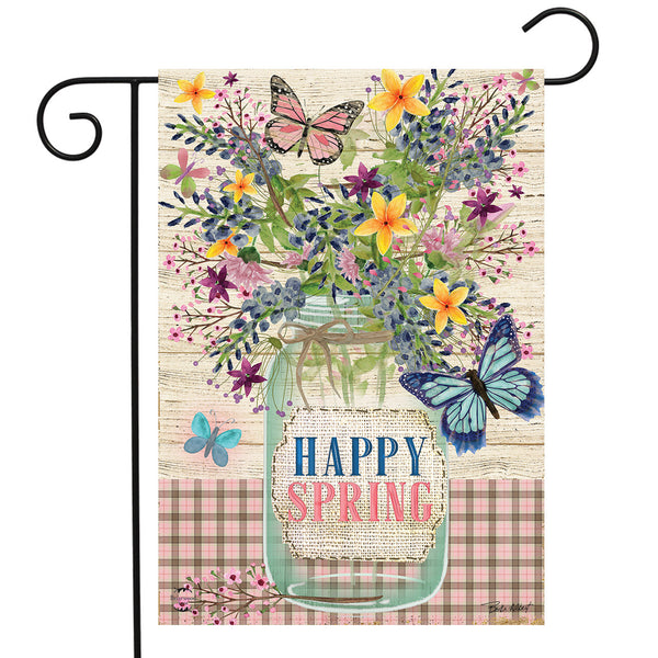 Happy Spring Mason Jar Garden Flag