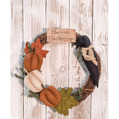 Harvest Gatherings Twig Wreath with Pumpkins