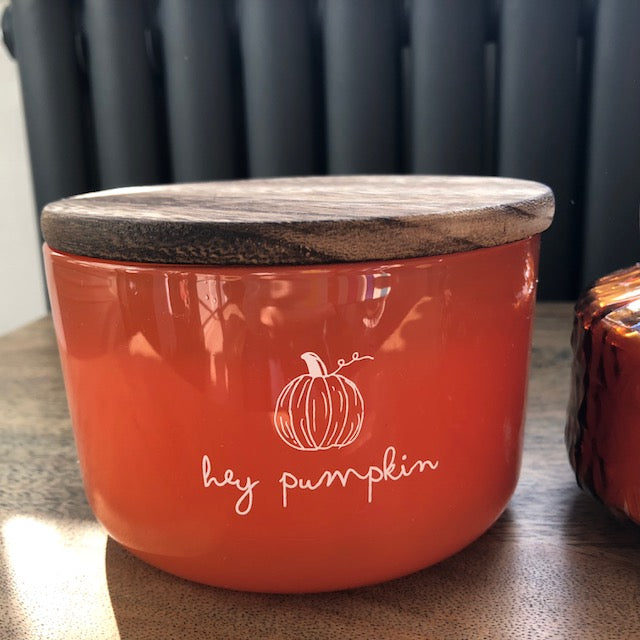 Hey Pumpkin Spice Triple Wick Candle with Wooden Lid