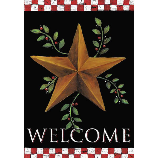 Welcome Barn Star Garden Flag