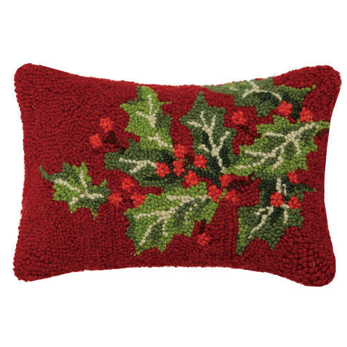 Holly Berry Hooked Red Cushion