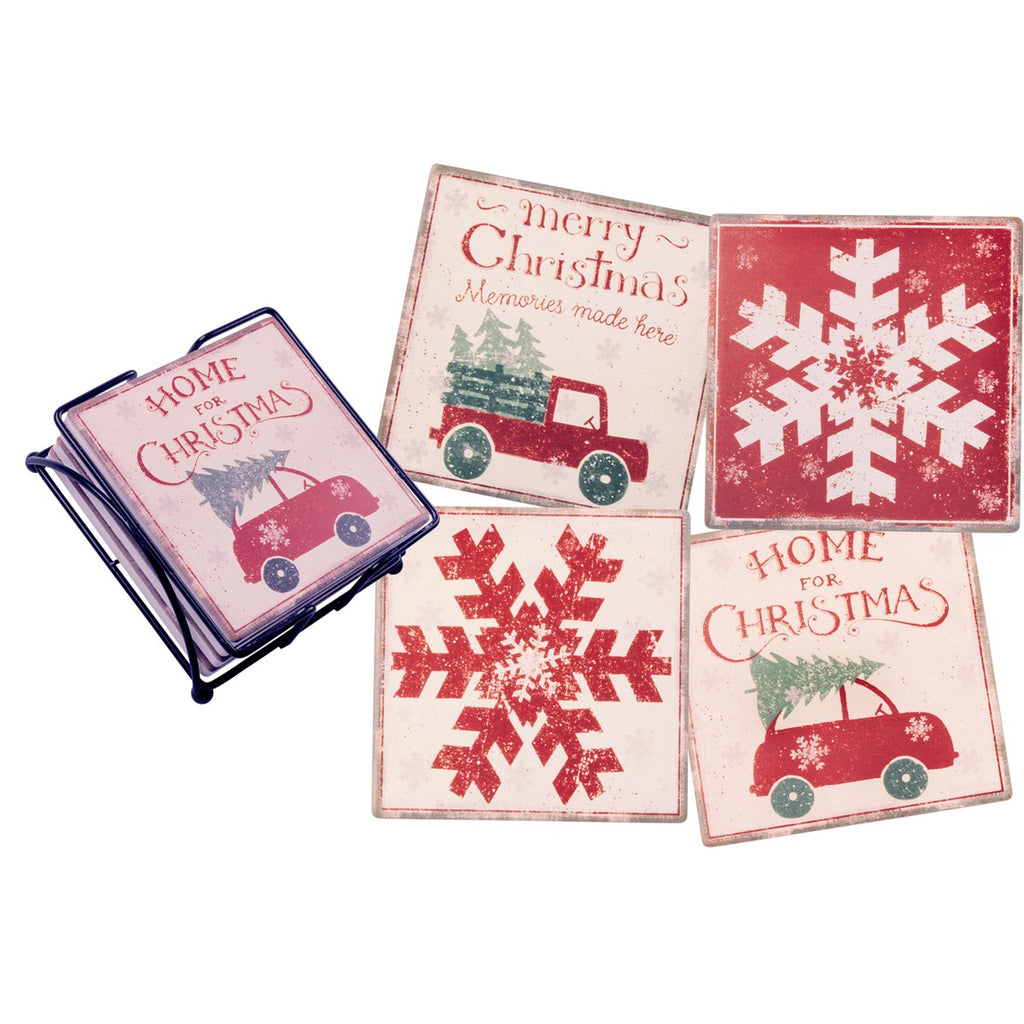Set of 4 Home for Christmas Stone Coasters