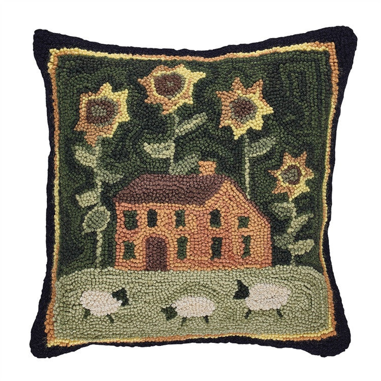 Hooked Cushion with House Sunflowers and Sheep