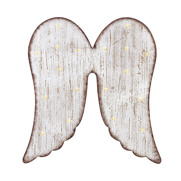 Whitewashed Angel Wings with LED Lights
