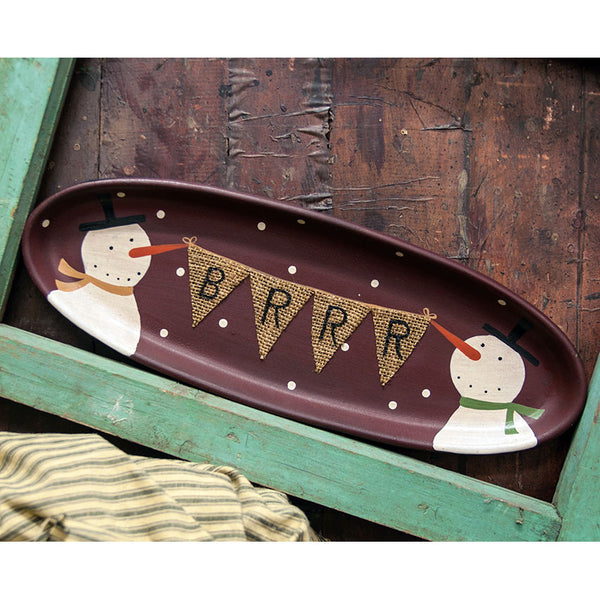 BRRR Wooden Tray with Snowmen