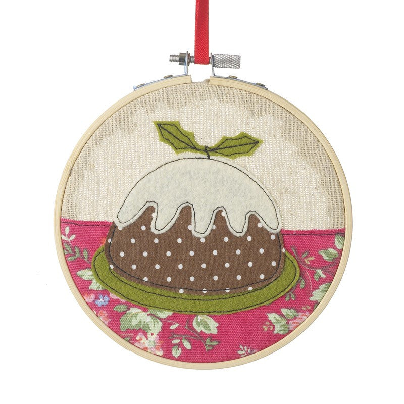 Christmas Pudding Stitched Hoop
