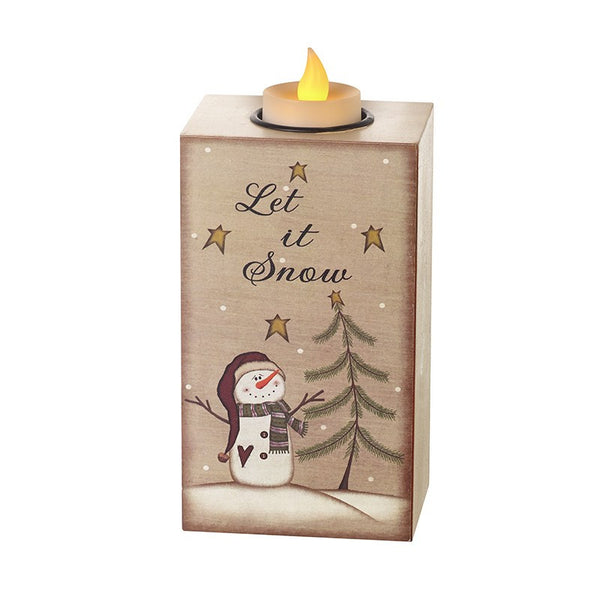 Wood Let it Snow Candle Holder with LED