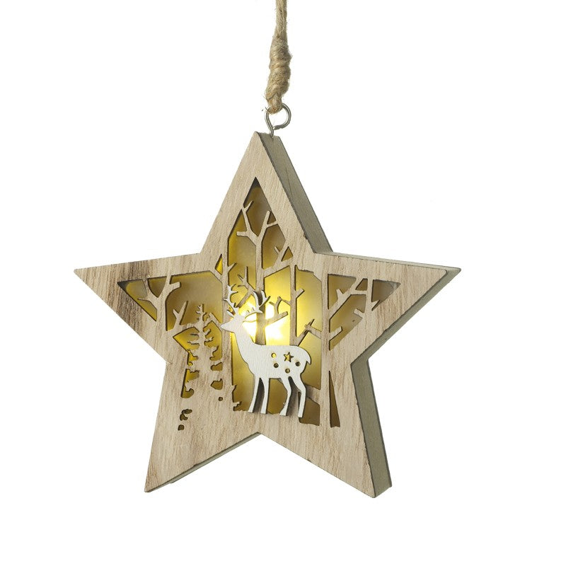 Hanging Woodland Star Ornament with Light