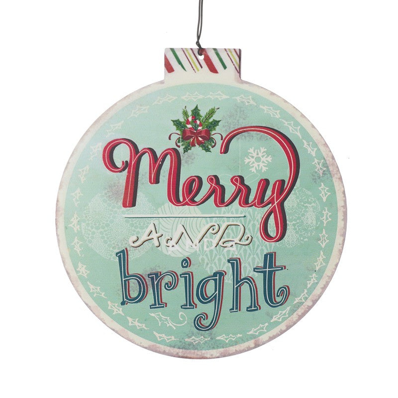 Merry and Bright Retro Bauble Hanging Plaque