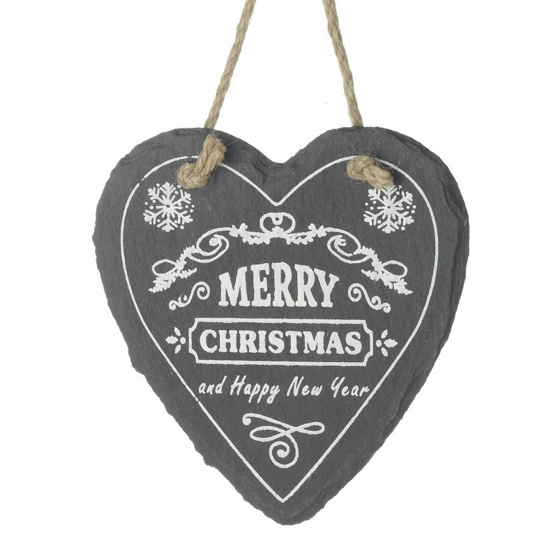 Merry Christmas and Happy New Year Heart Slate