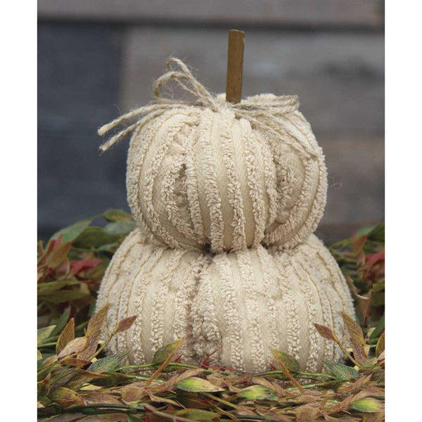 Cream Chenille Pumpkin Stack