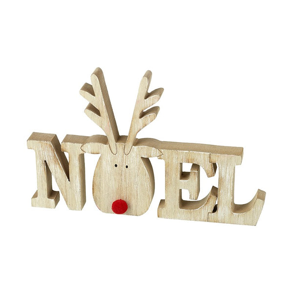 Wooden Noel Reindeer Decoration