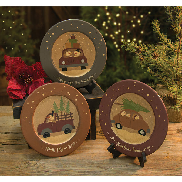 Decorative Wooden Snowman Plate
