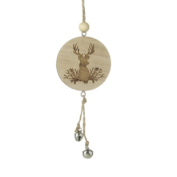 Wooden Reindeer Decoration with Bells
