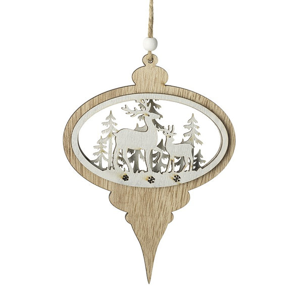 Retro Wooden Bauble with Reindeer and Forest Scene