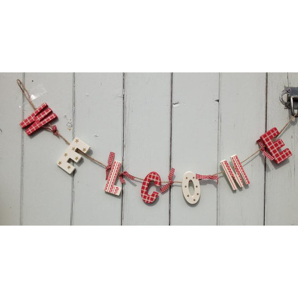 Red & White Wooden Welcome Garland