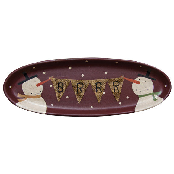 Snowman Burgundy Tray with BRRR