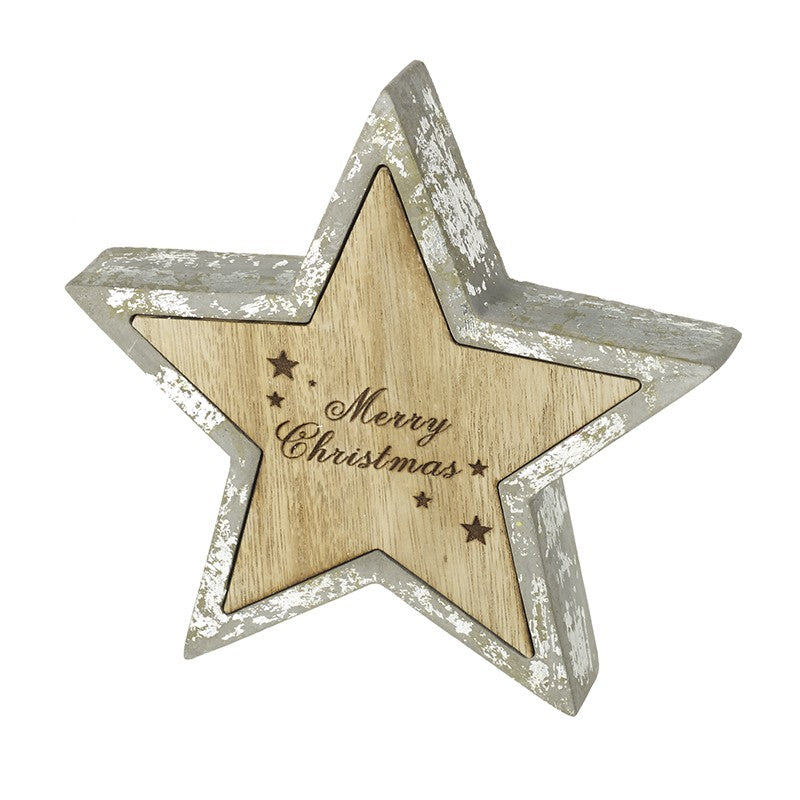Wooden Merry Christmas Star Decoration
