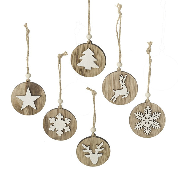 Set of 3 Wooden Ornaments
