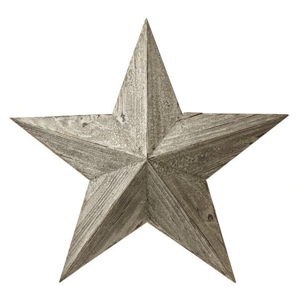 Antiqued Whitewashed Wooden Barn Stars