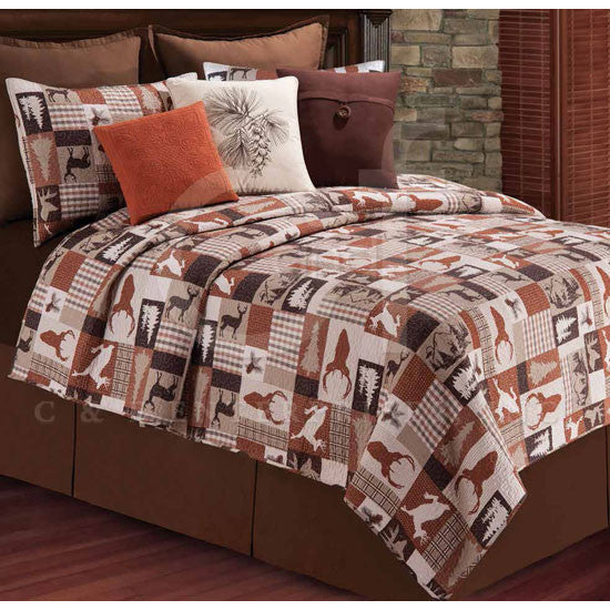 Patchwork Stags Quilted Pillowcase