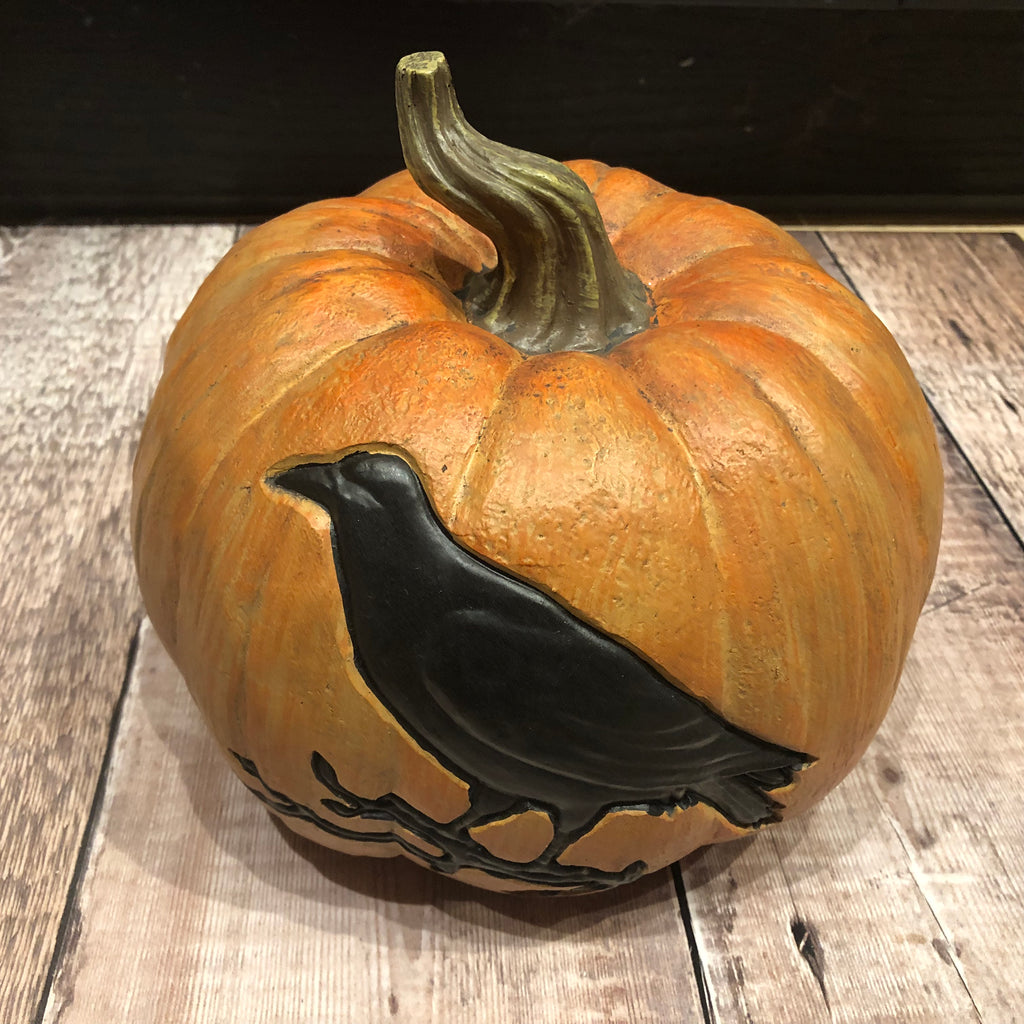 Large Pumpkin with Crow