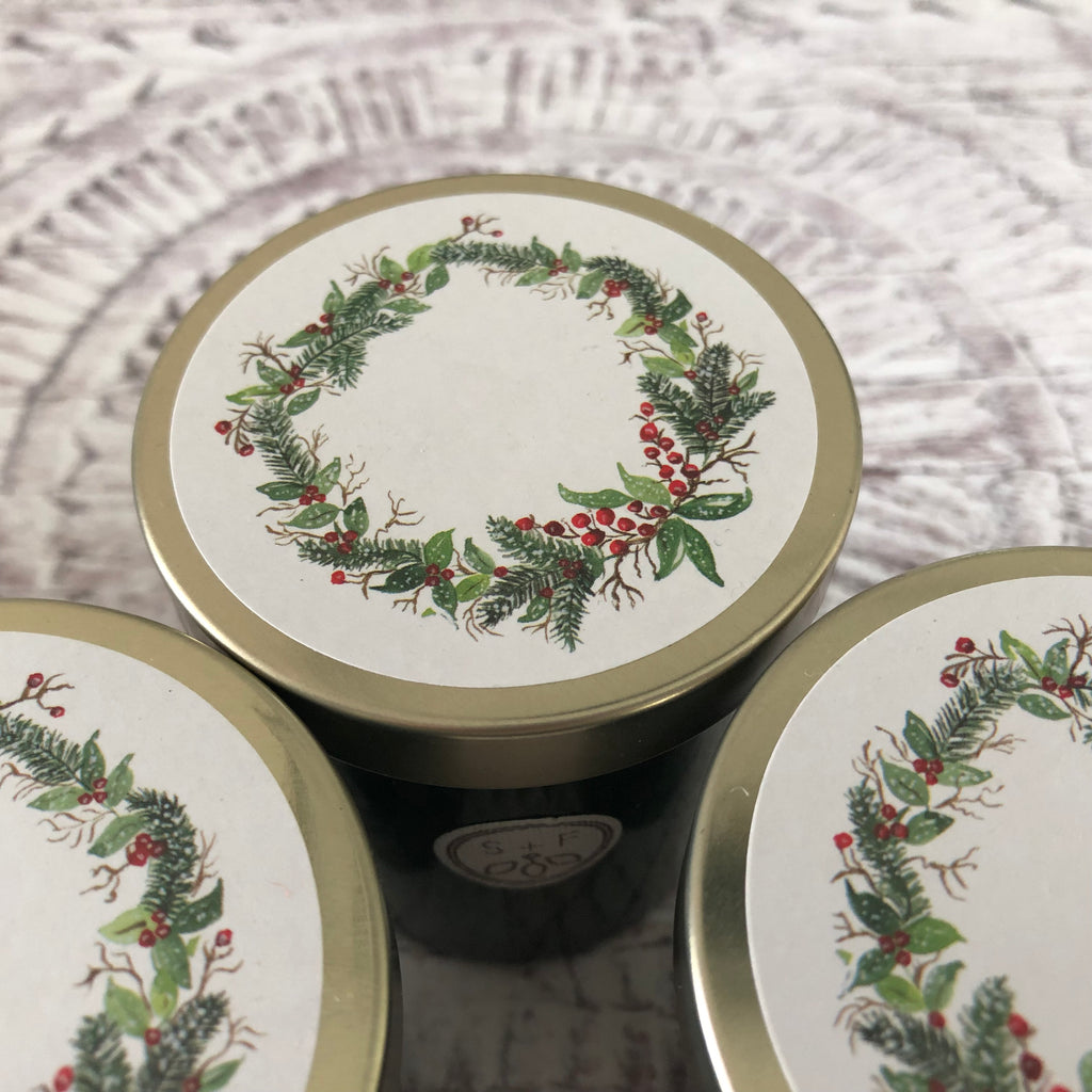 Winter Pine Scented Coconut Wax Candle with Wreath