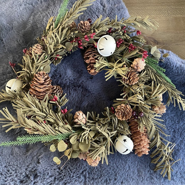 Rustic Pine Wreath with Bells