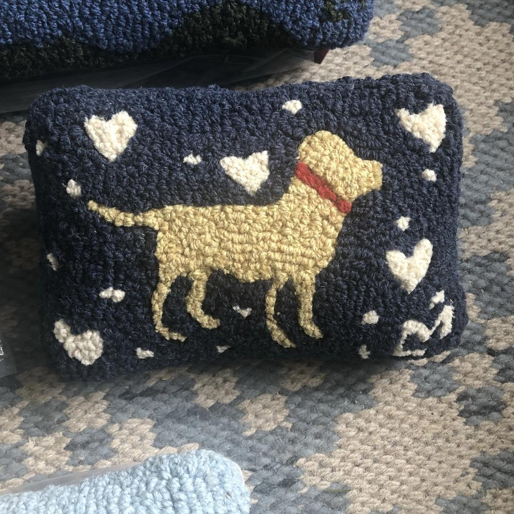 Navy Hooked Wool Cushion with lab
