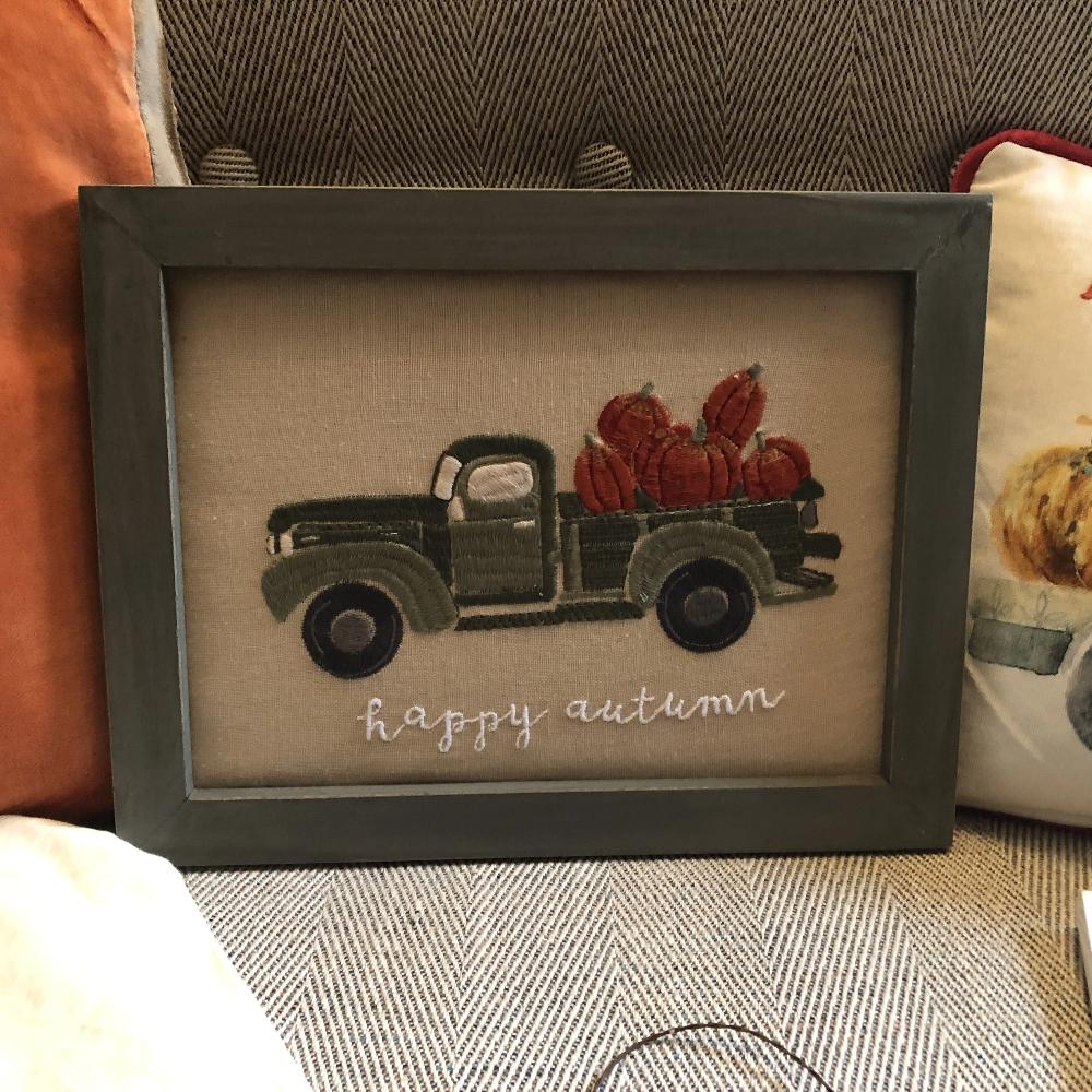 Happy Autumn Framed Stitchery
