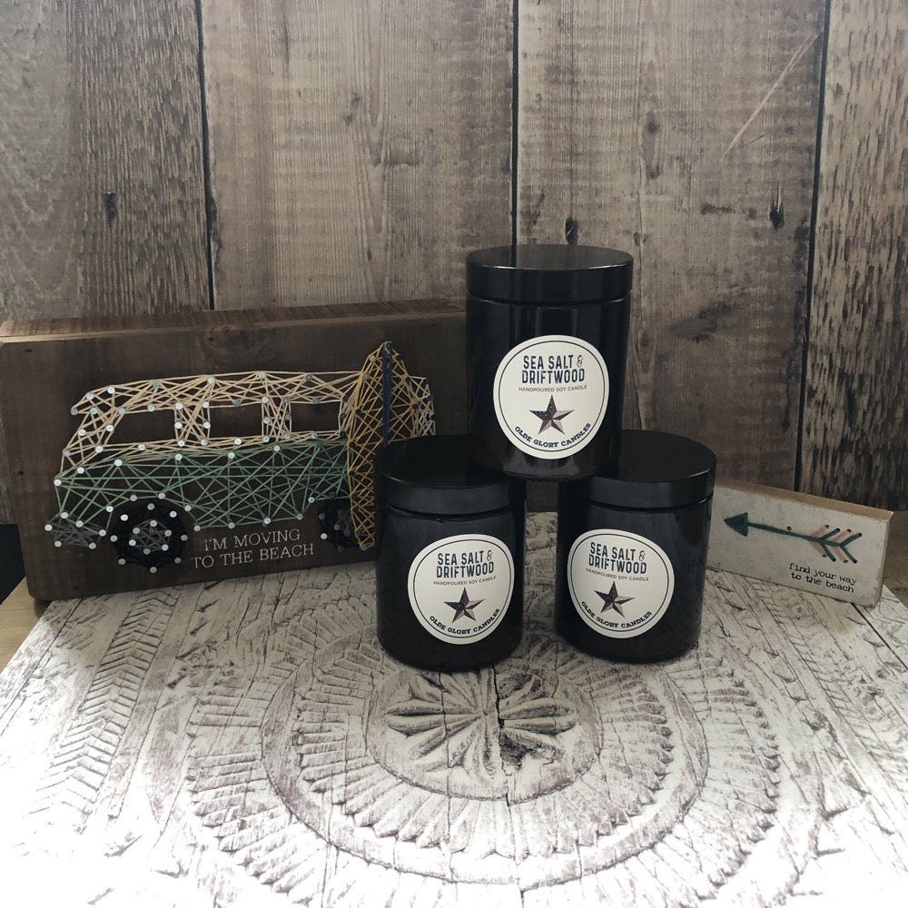 Olde Glory Seasalt and Driftwood 100% Soy Candles with Vegan Fragrance Oils