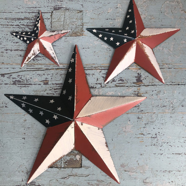 Set of 3 American Flag Barn Stars UK