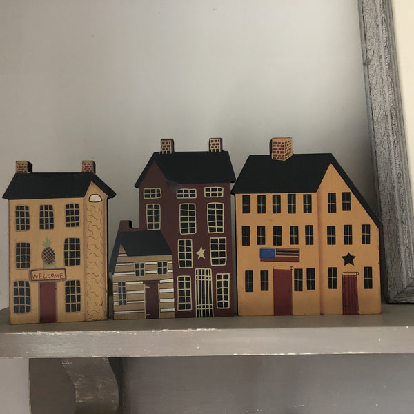 Set of Three Early American Wooden Houses