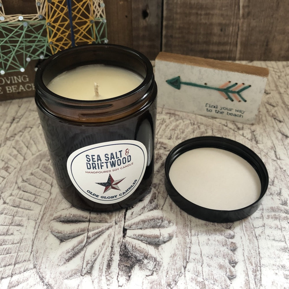 Seasalt and Driftwood Soy Candle with Paraben Free Vegan Essential Oils