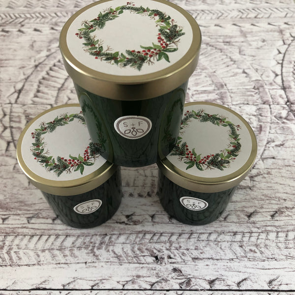 Winter Pine Candle with Wreath Design