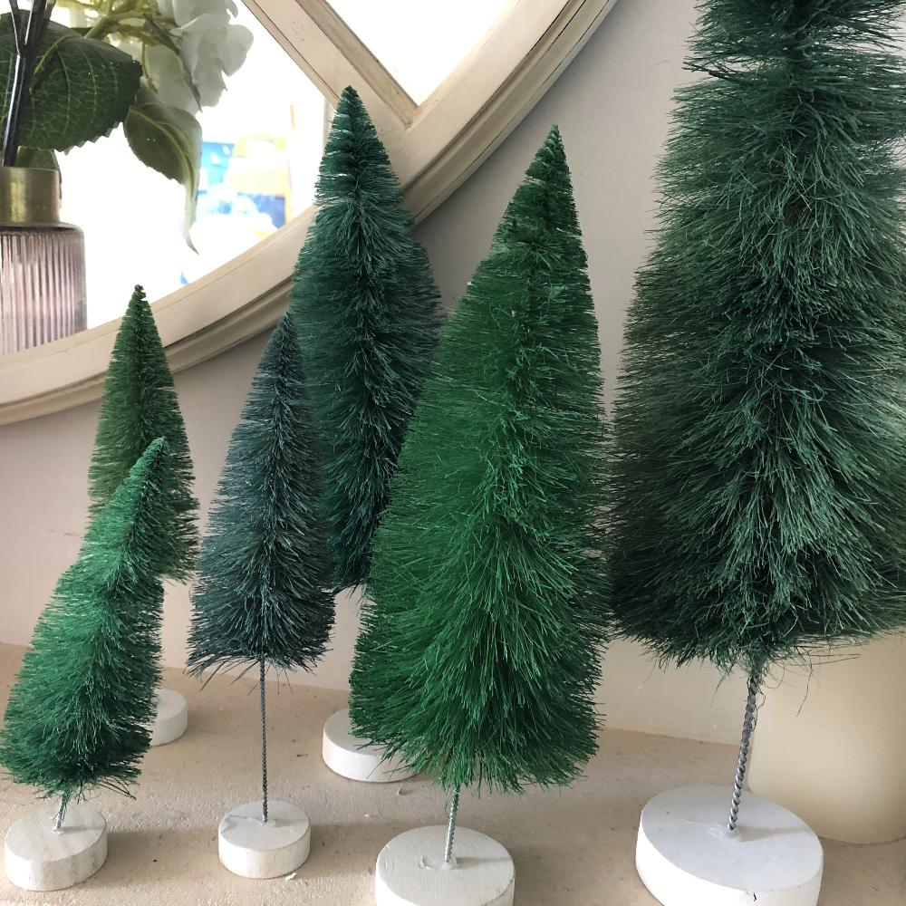 Teal Spectrum Bottle Brush Trees Set of 6