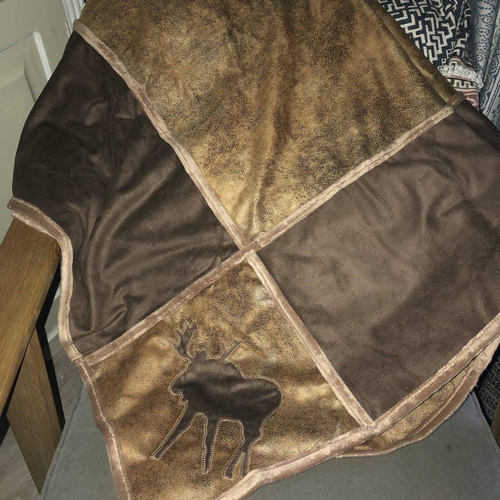 Lodge Grid Faux Suede Shearling Throw