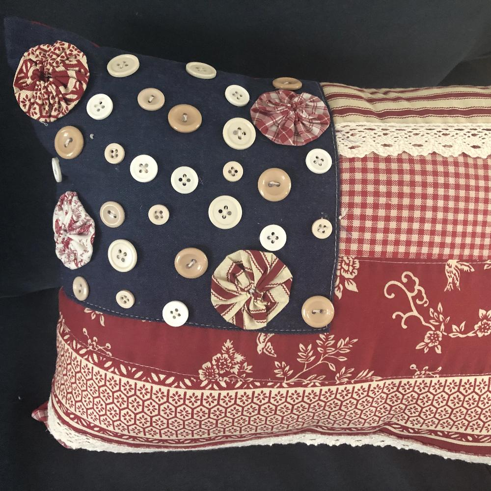 Vintage Style American Flag Cushion with Button Detailing