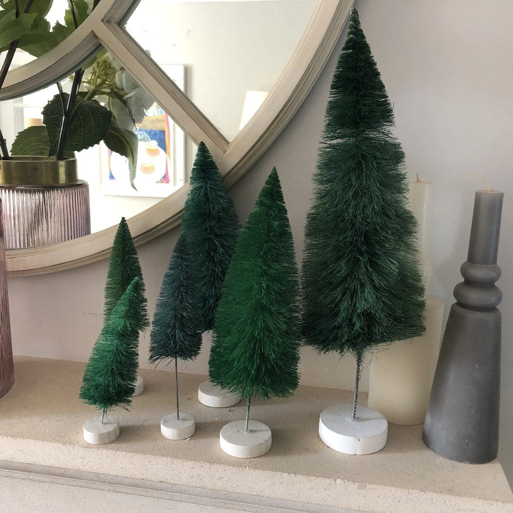 Teal Rainbow Bottle Brush Tree Set of 6