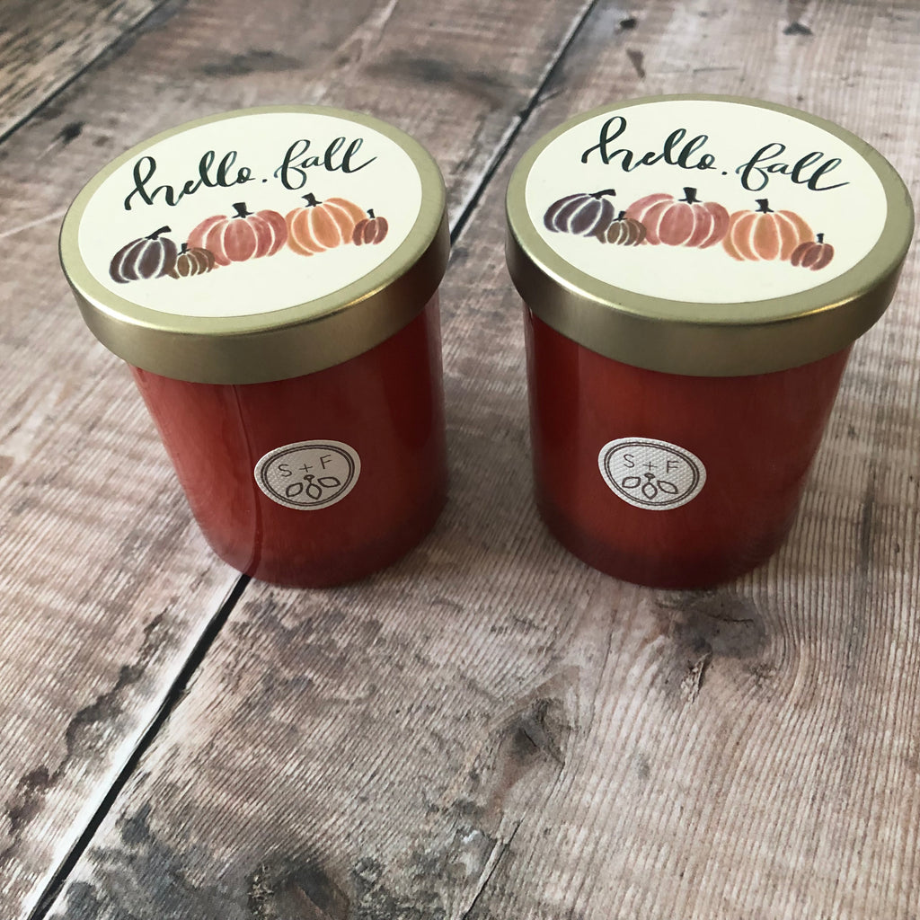 Hello Fall Pumpkin Harvest Candles UK