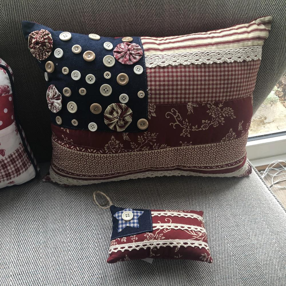 Vintage Flag Cushion with Buttons