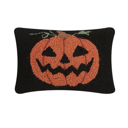 Hooked Cushion with a Jack O' Lantern