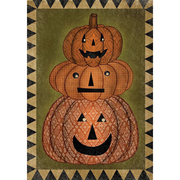Stack of Jack O' Lanterns Garden Flag UK