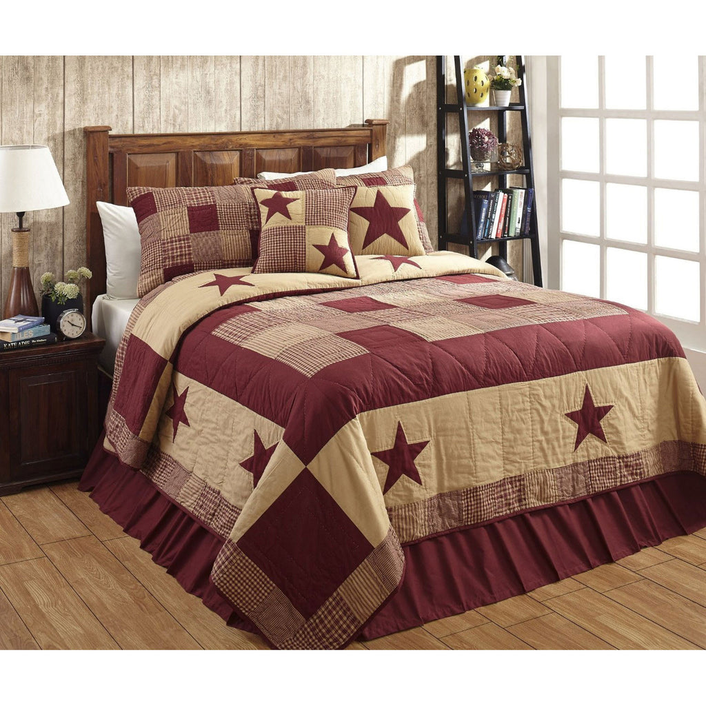 Jamestown Burgundy and Tan Quilted Bedspread and Pillowcases Set