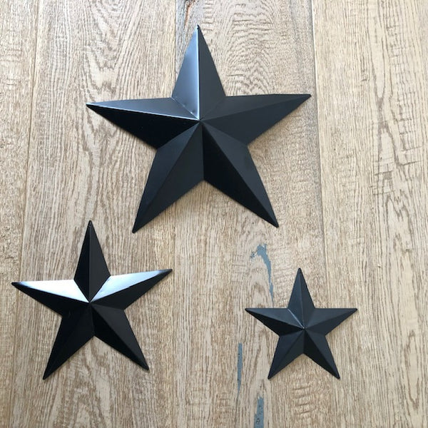 Set of 3 Black Metal Barn Stars
