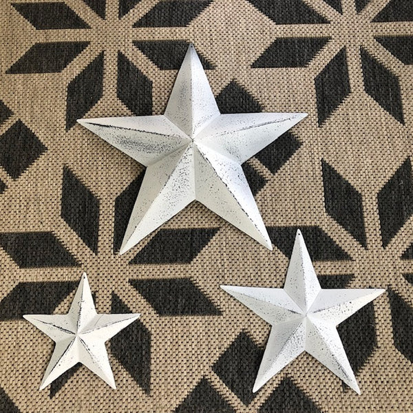 Set of 3 Whitewashed Barn Stars