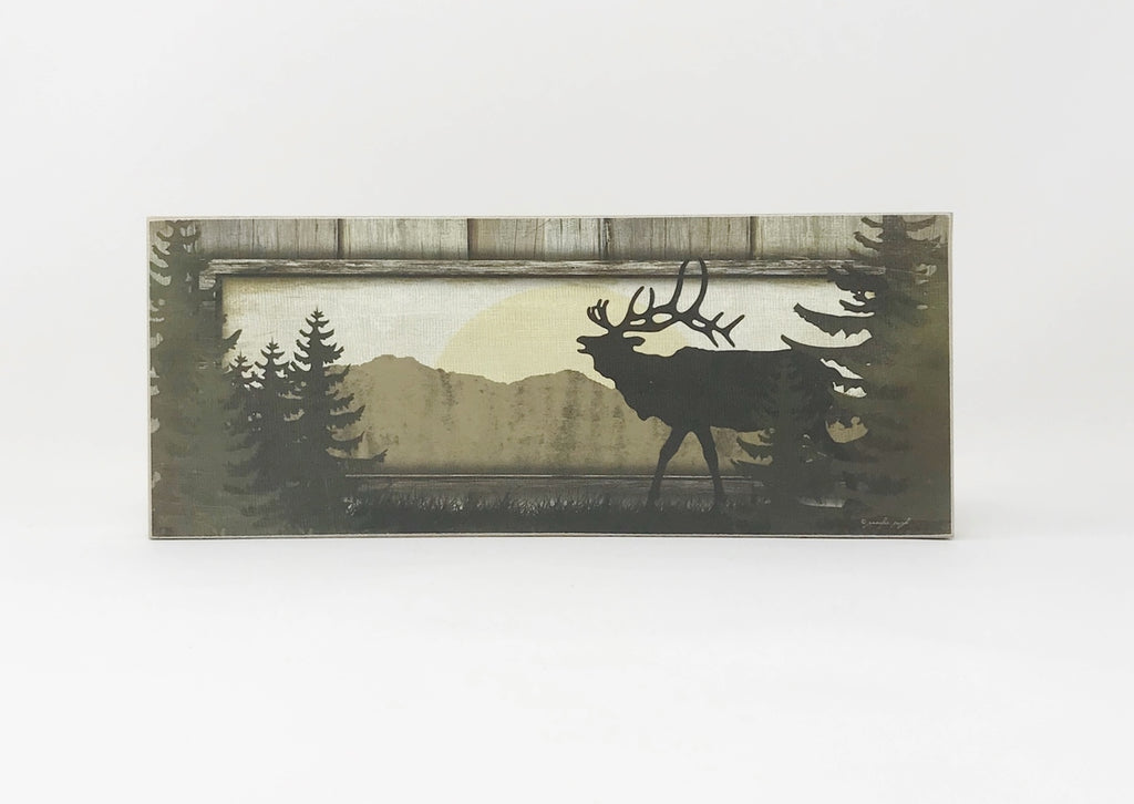 Elk Log Cabin Style Block Sign