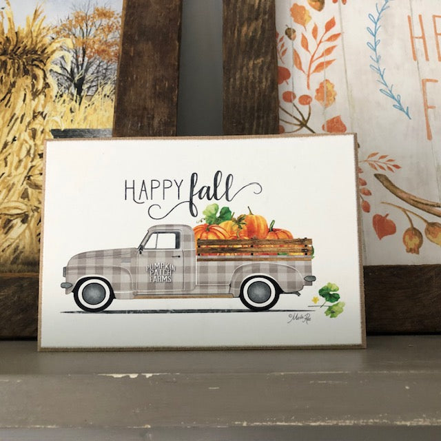Happy Fall Vintage Truck Block