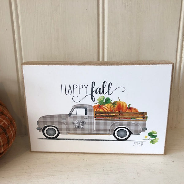 Happy Fall Vintage Truck Block Sign UK